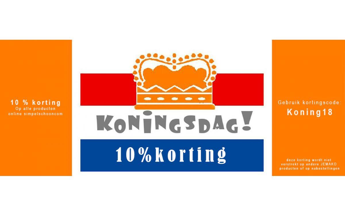 10% Korting geldig op koningsdag